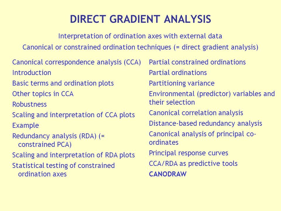 DIRECT GRADIENT ANALYSIS