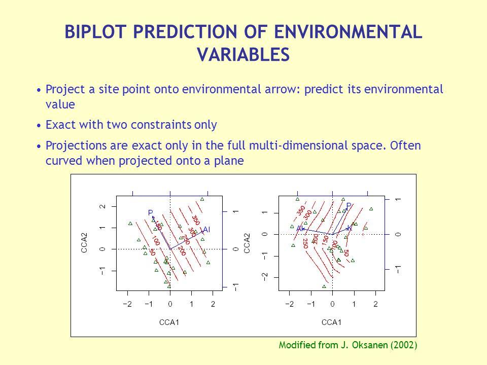 BIPLOT PREDICTION OF ENVIRONMENTAL VARIABLES