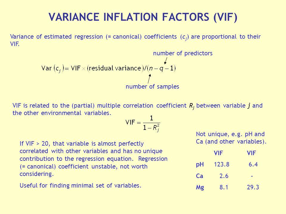 VARIANCE INFLATION FACTORS (VIF)