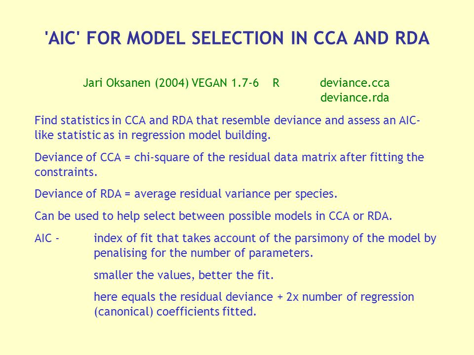 AIC FOR MODEL SELECTION IN CCA AND RDA