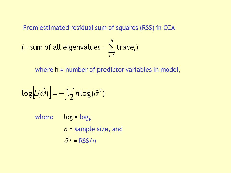 From estimated residual sum of squares (RSS) in CCA