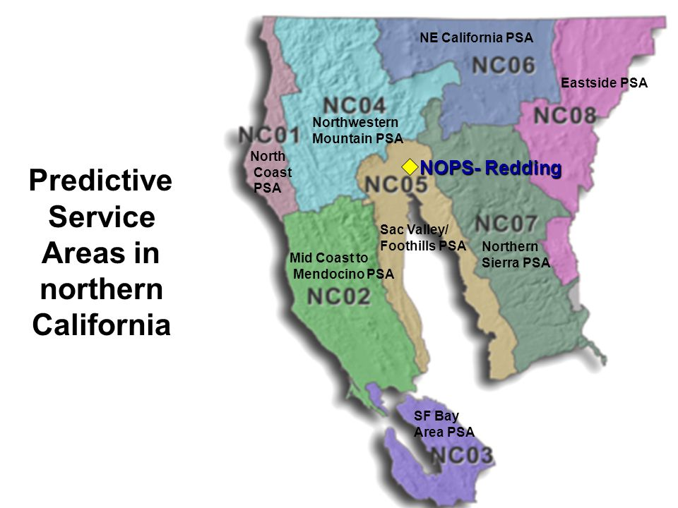 Service Areas in northern California