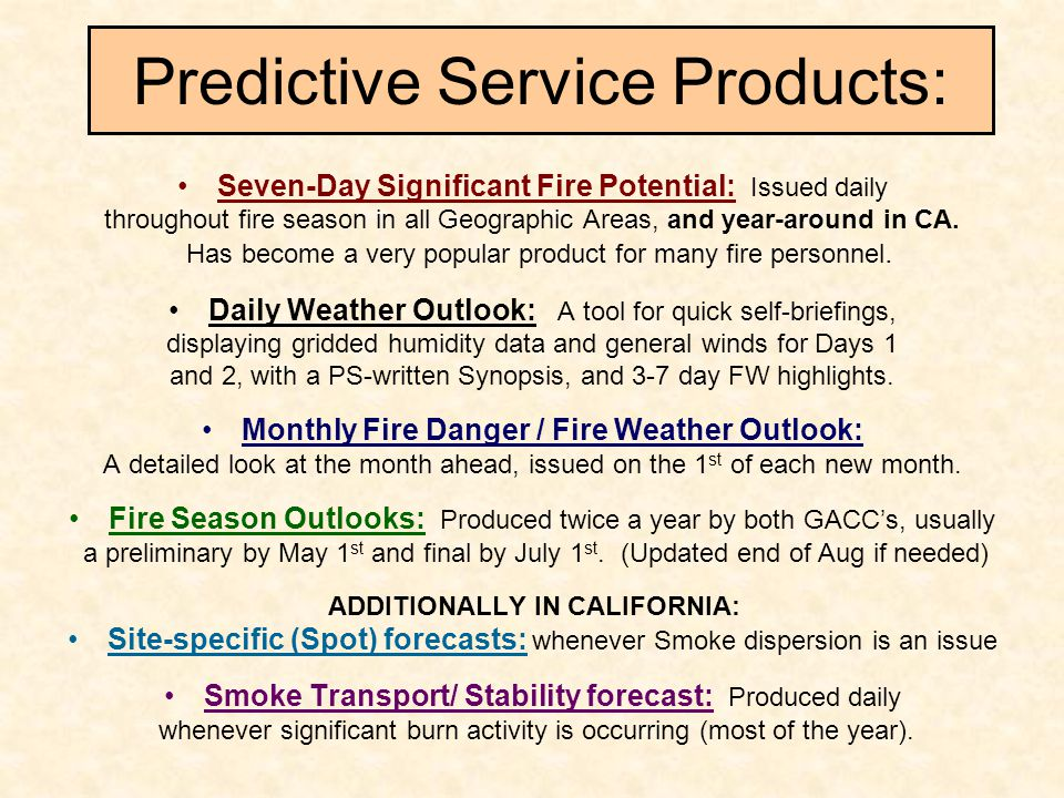 Predictive Service Products: