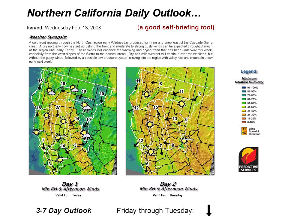 Northern California Daily Outlook…