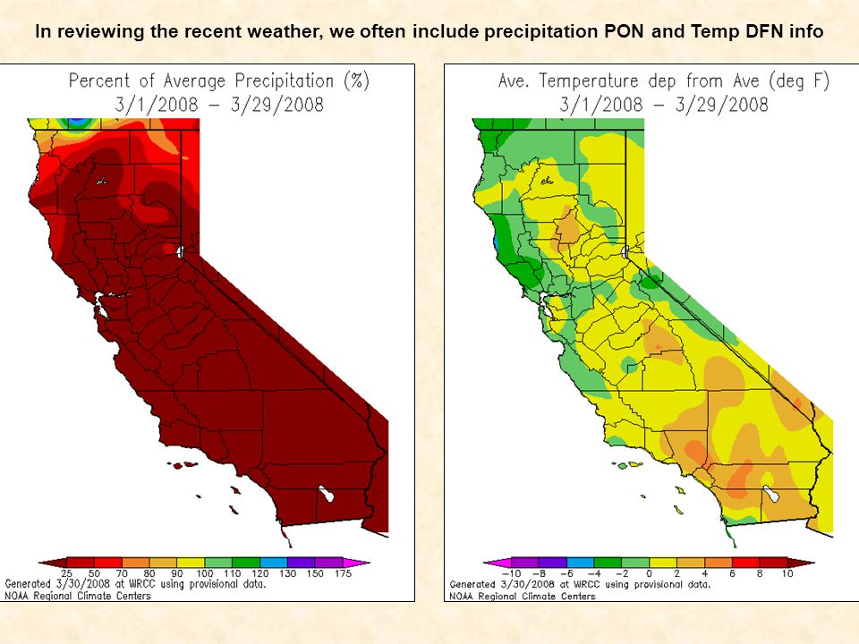 In reviewing the recent weather, we often include precipitation PON and Temp DFN info