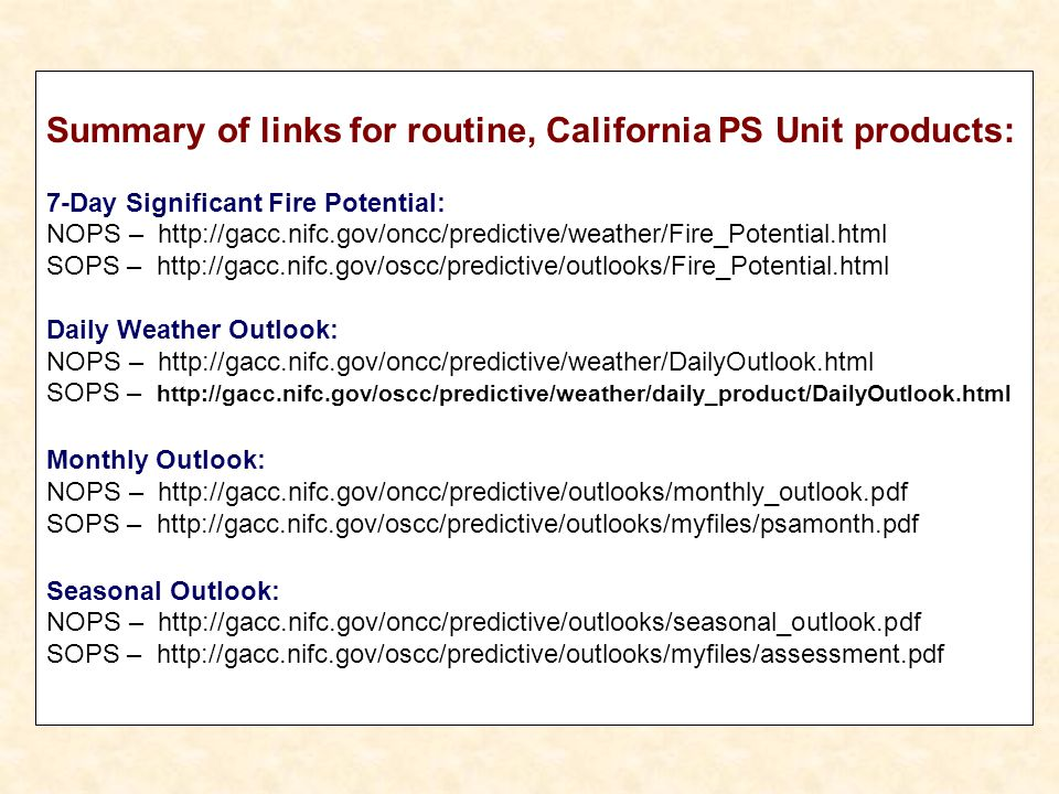 Summary of links for routine, California PS Unit products: