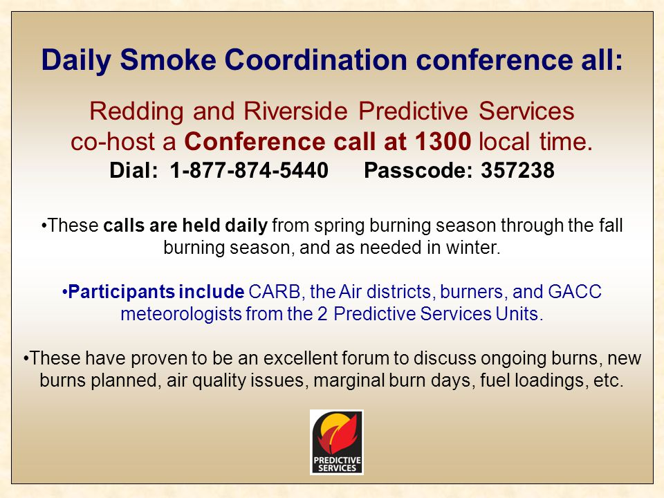 Daily Smoke Coordination conference all: