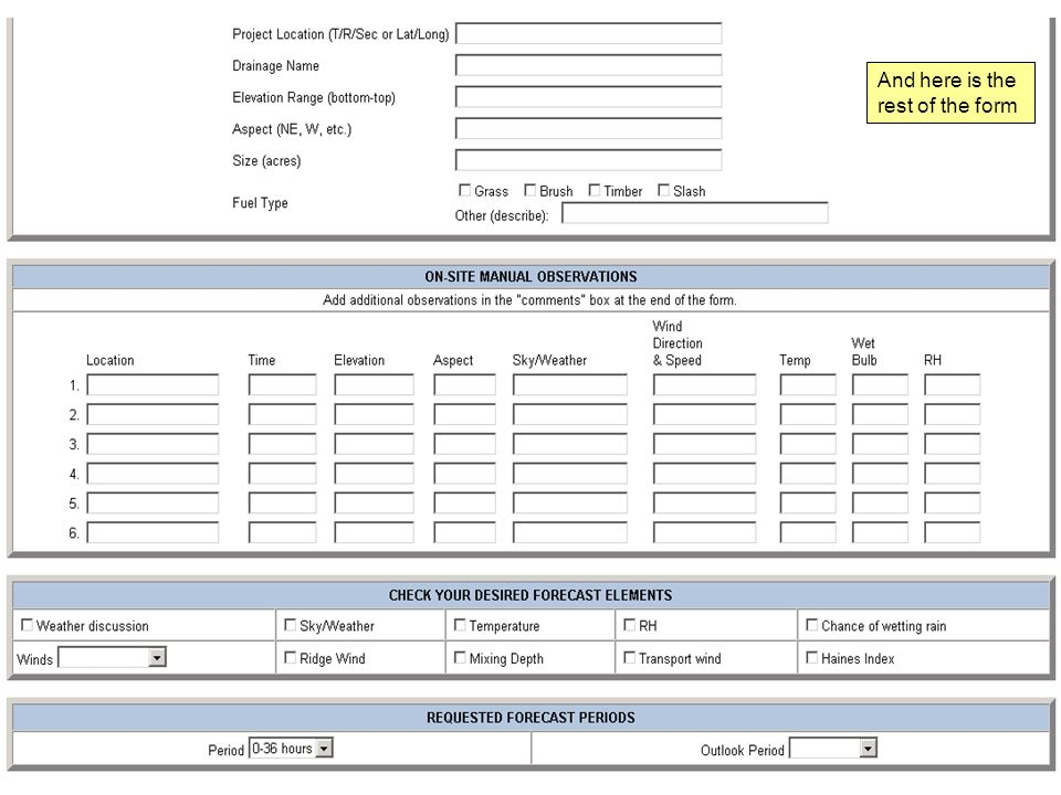 And here is the rest of the form