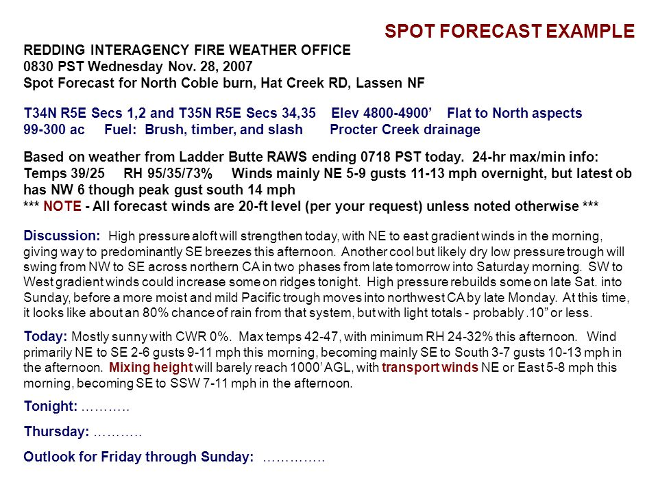 SPOT FORECAST EXAMPLE REDDING INTERAGENCY FIRE WEATHER OFFICE