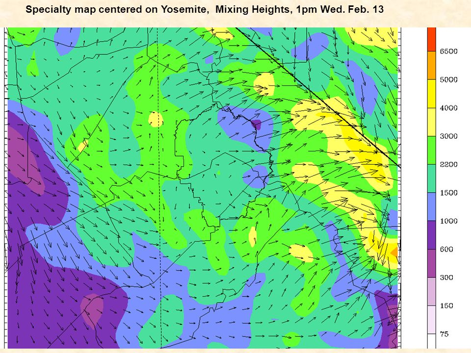 Specialty map centered on Yosemite, Mixing Heights, 1pm Wed. Feb. 13