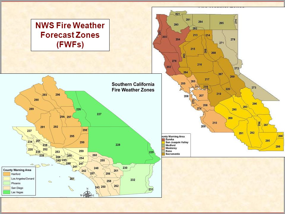 NWS Fire Weather Forecast Zones (FWFs)