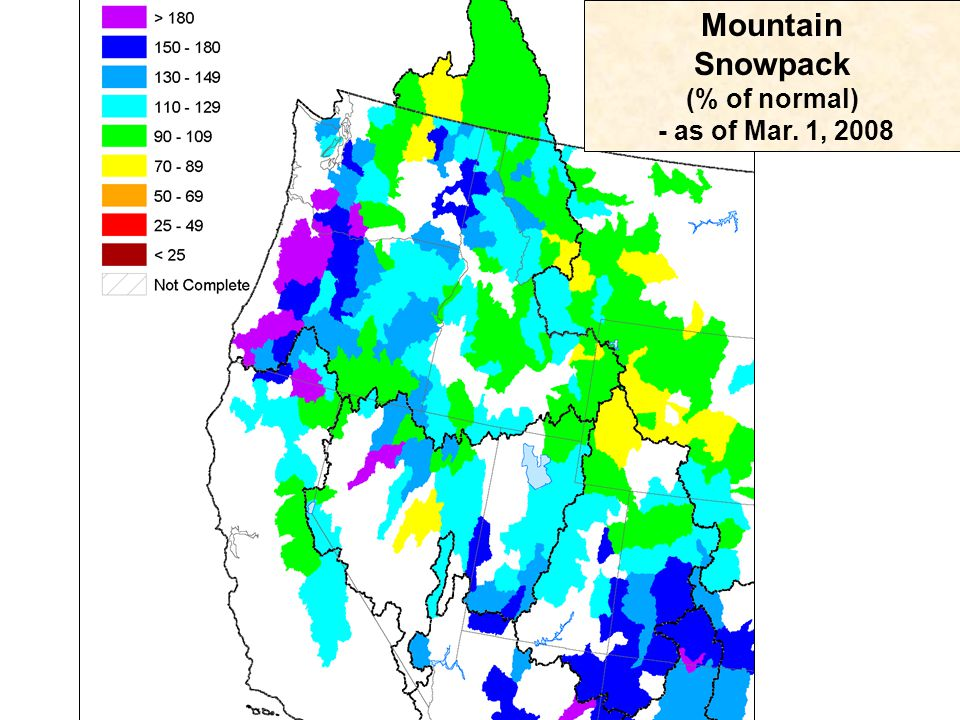Mountain Snowpack (% of normal) - as of Mar. 1, 2008