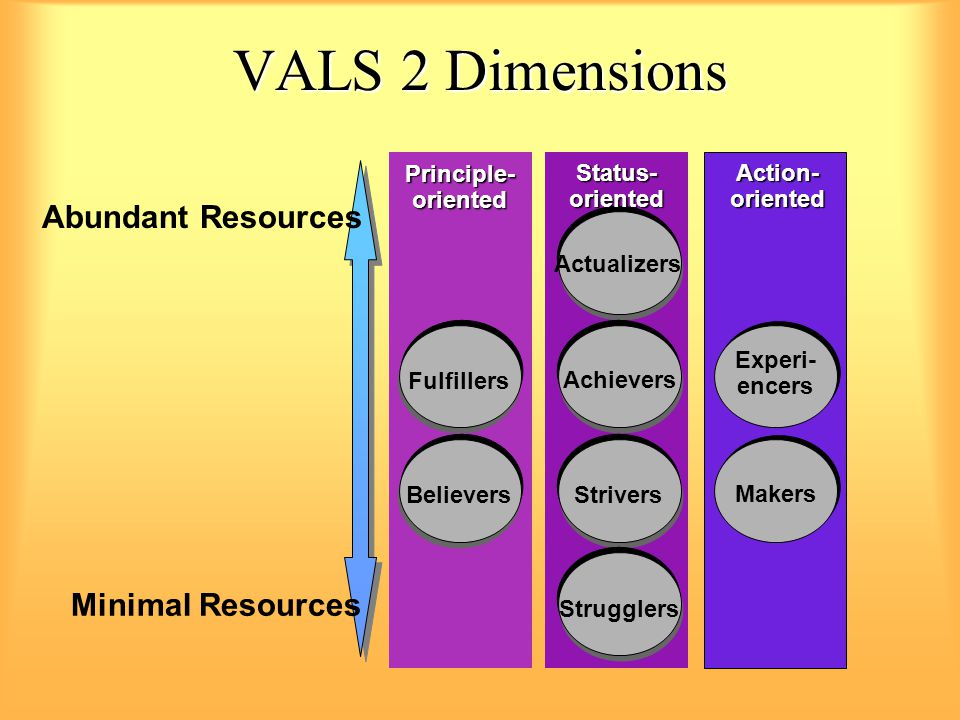 VALS 2 Dimensions Abundant Resources Minimal Resources Principle-