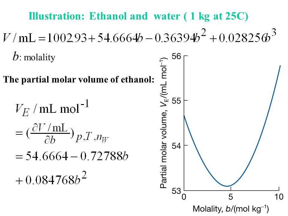 b: molality Illustration: Ethanol and water ( 1 kg at 25C)