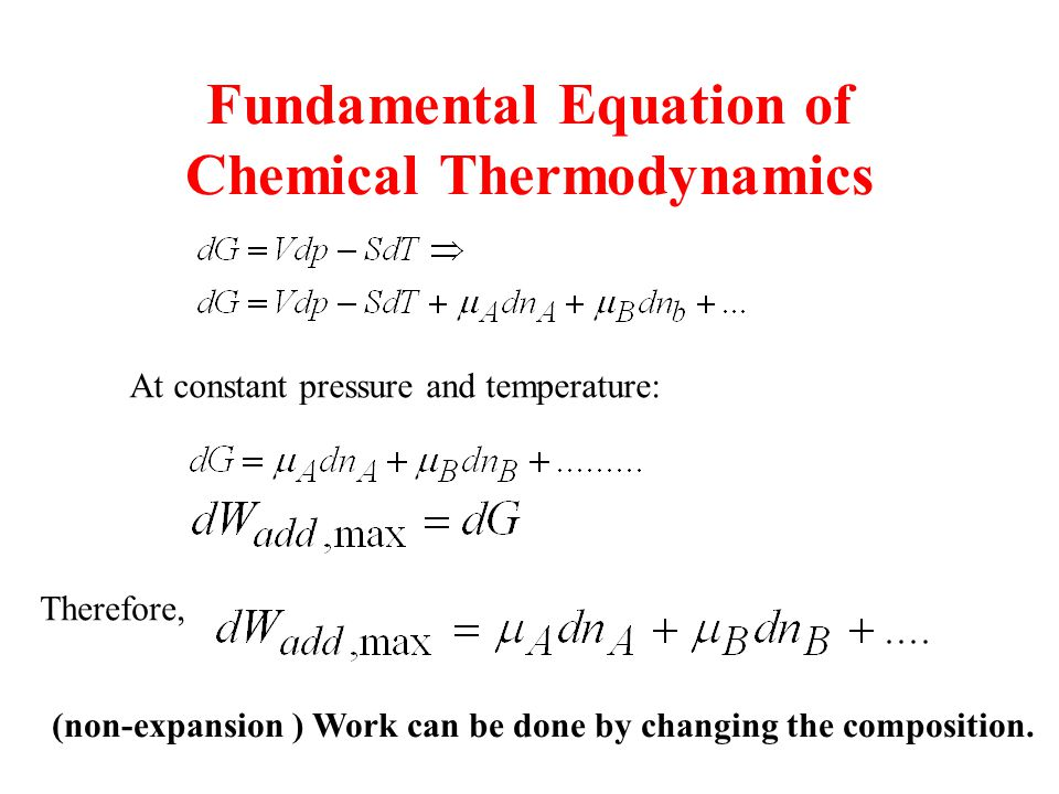 Fundamental Equation of Chemical Thermodynamics