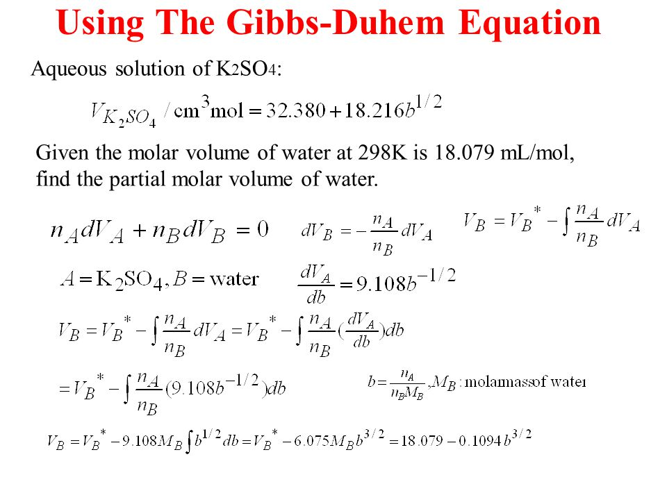 volume of water equation. using the gibbs-duhem equation volume of water