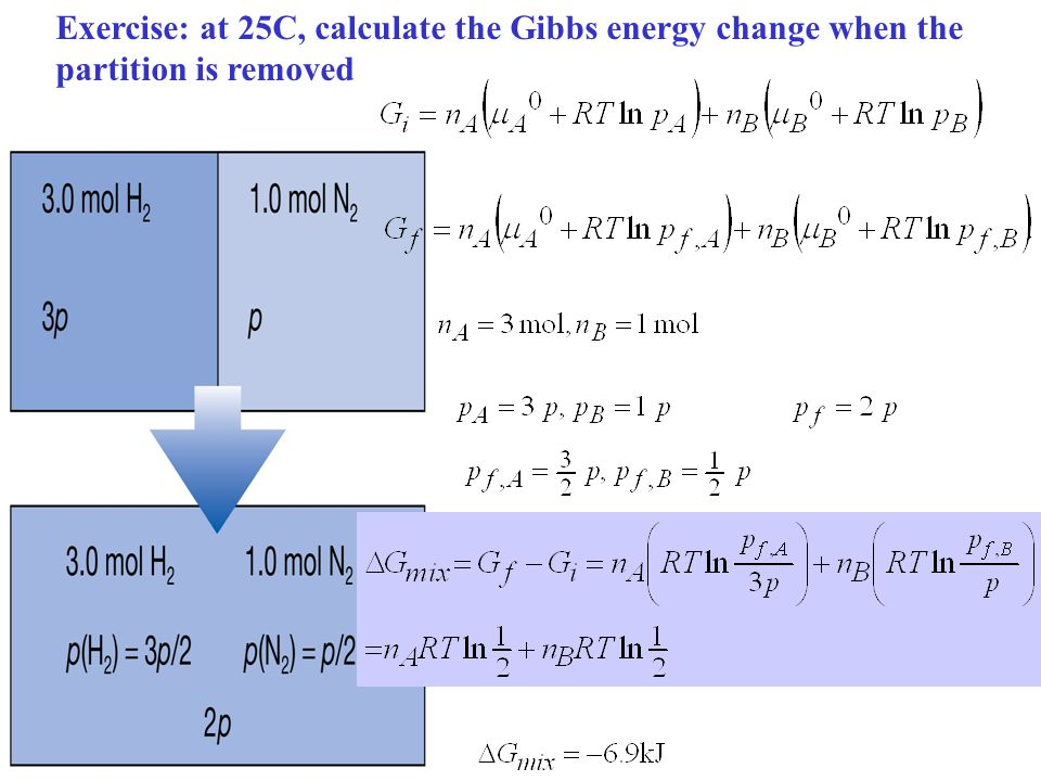 Exercise: at 25C, calculate the Gibbs energy change when the