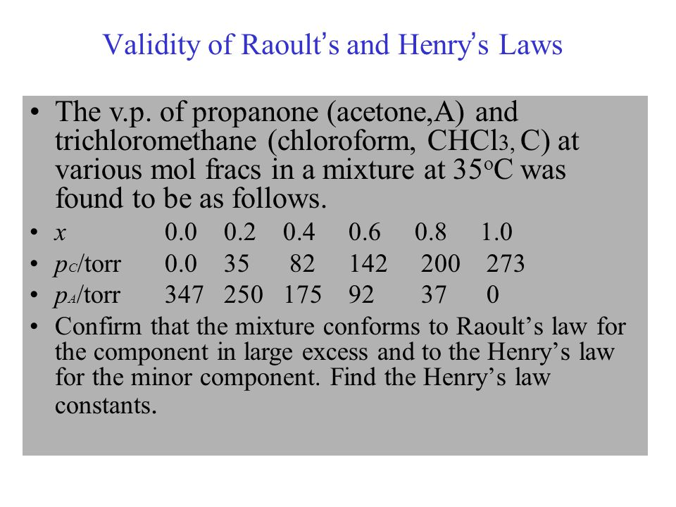 Validity of Raoult's and Henry's Laws