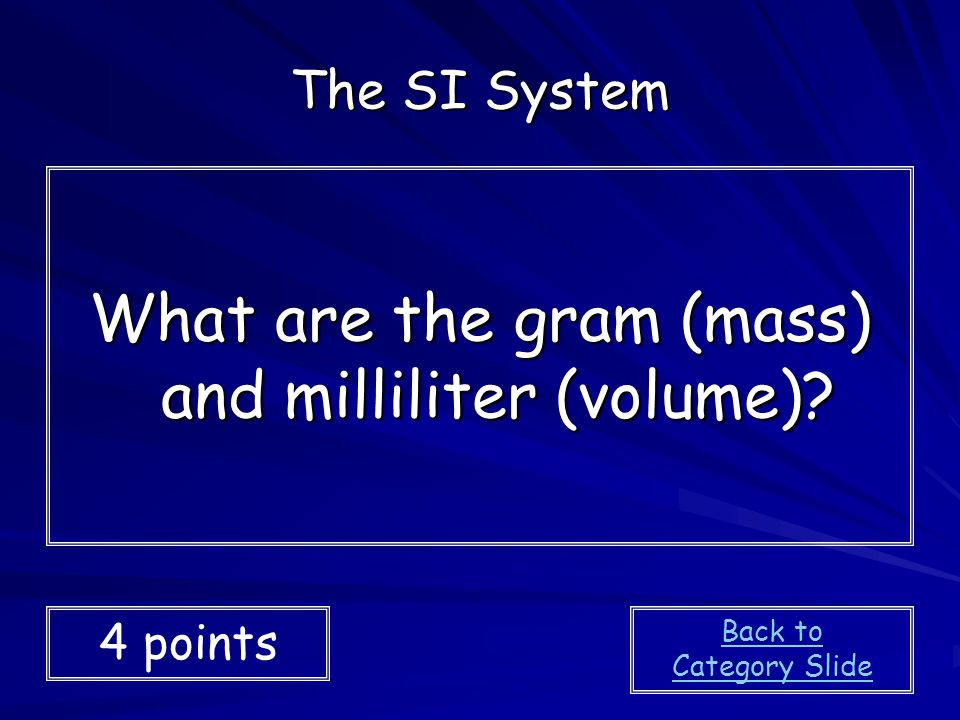 What are the gram (mass) and milliliter (volume)