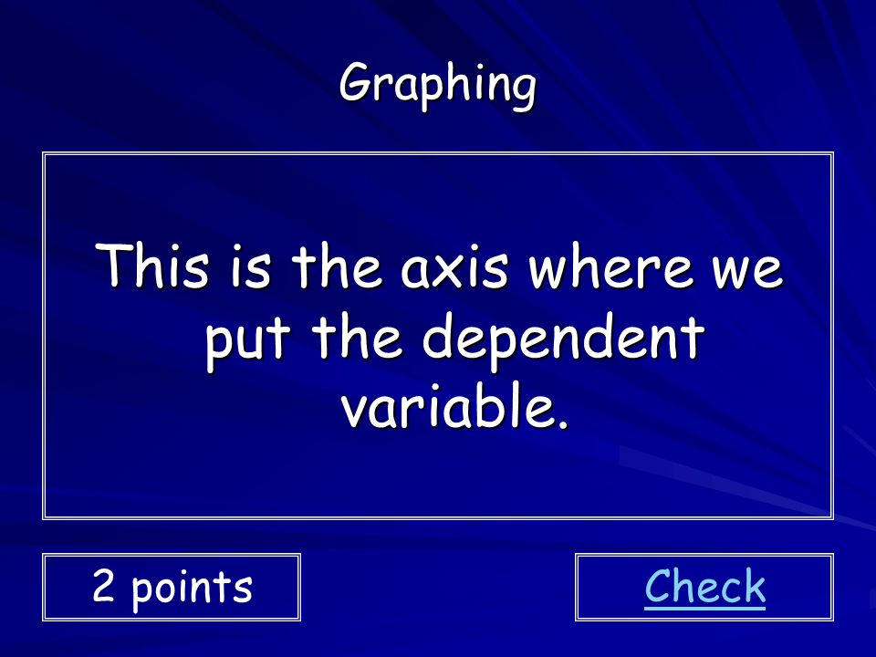 This is the axis where we put the dependent variable.