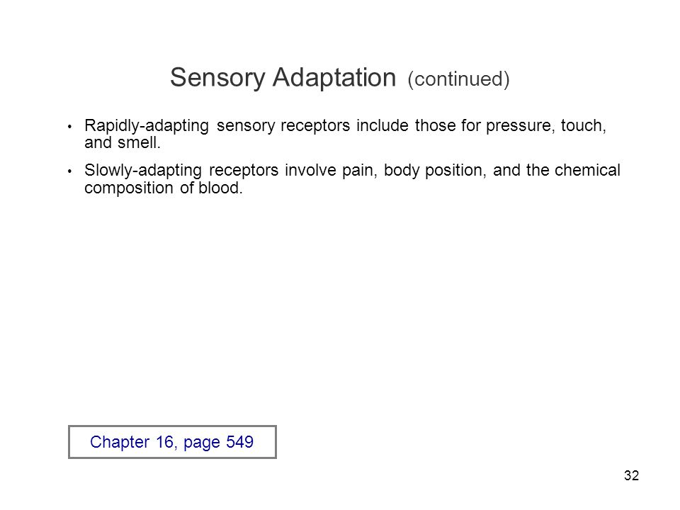 Sensory Adaptation (continued)