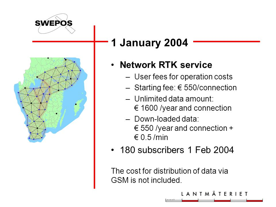 1 January 2004 Network RTK service 180 subscribers 1 Feb 2004