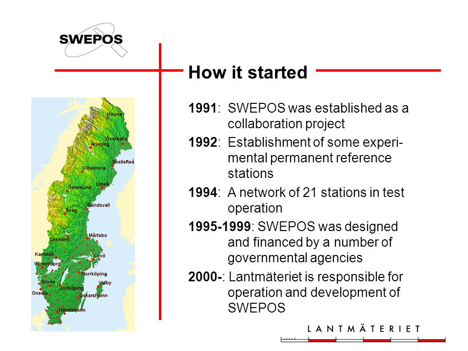 How it started 1991: SWEPOS was established as a collaboration project
