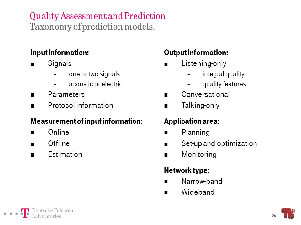Quality Assessment and Prediction Taxonomy of prediction models: Narrow-band case.