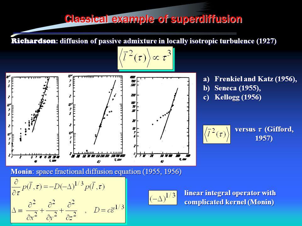 Classical example of superdiffusion