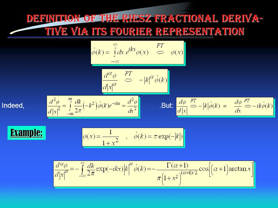 Definition of the Riesz fractional deriva-tive via its Fourier representation