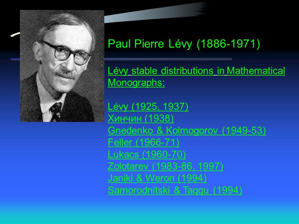 Paul Pierre Lévy (1886-1971) Lévy stable distributions in Mathematical Monographs: Lévy (1925, 1937)