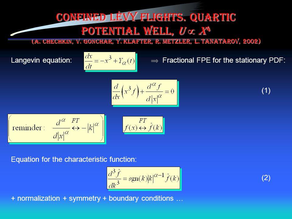 Confined Lévy flights. Quartic potential well, U  x4 (A. Chechkin, V