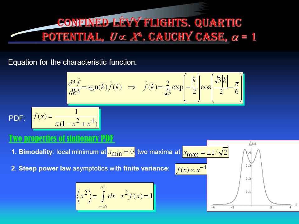 Confined Lévy flights. Quartic potential, U  x4. Cauchy case,  = 1