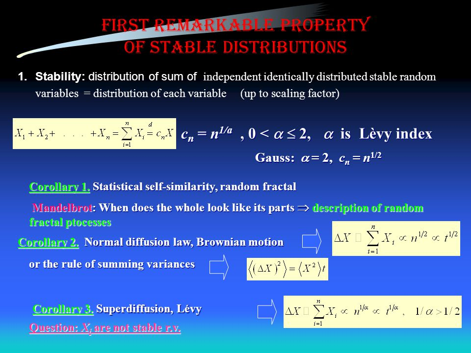 First remarkable property of stable distributions