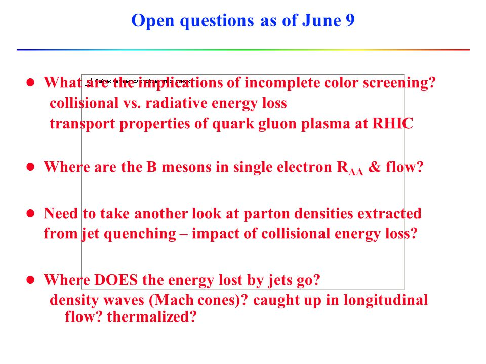 Open questions as of June 9