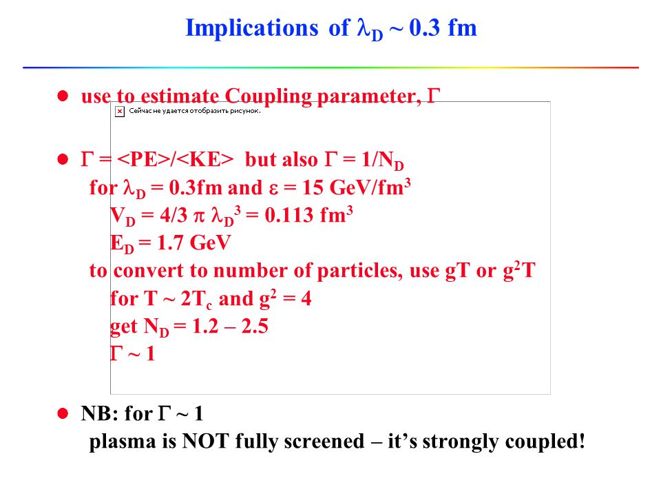 Implications of lD ~ 0.3 fm use to estimate Coupling parameter, G