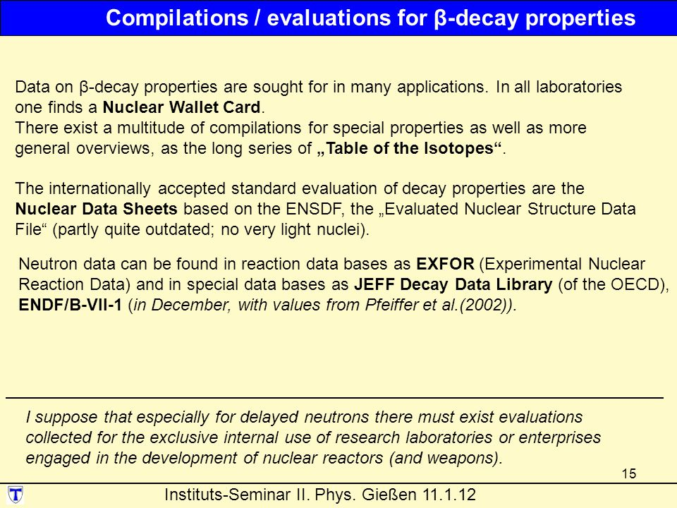 Compilations / evaluations for β-decay properties
