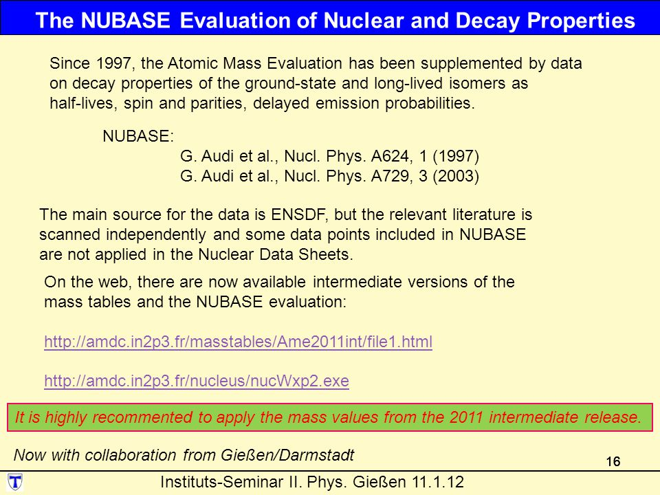 The NUBASE Evaluation of Nuclear and Decay Properties