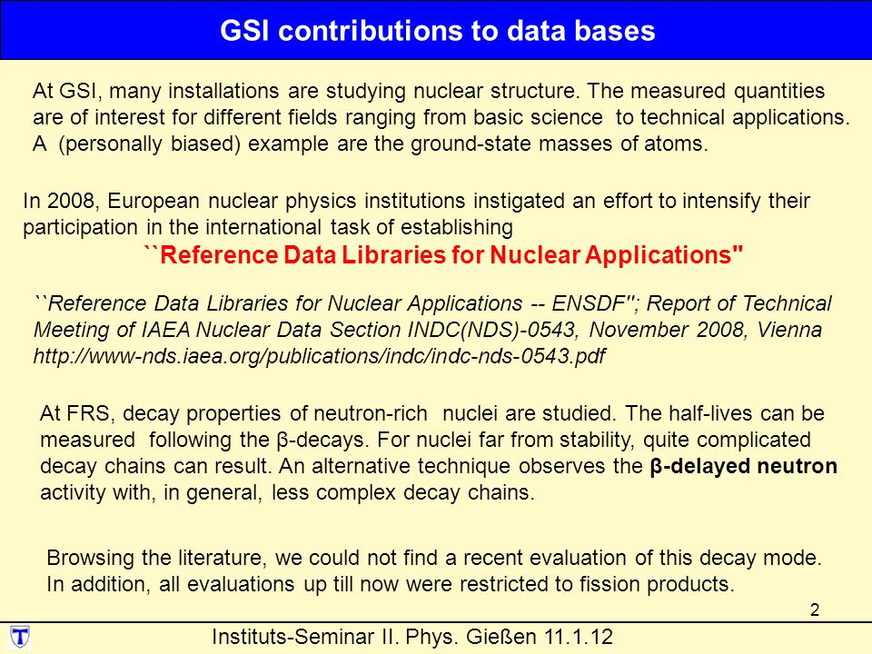 GSI contributions to data bases