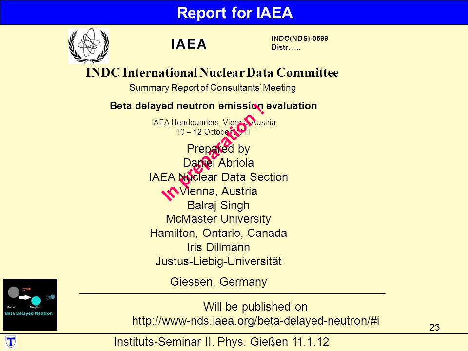 In preparation ! Report for IAEA