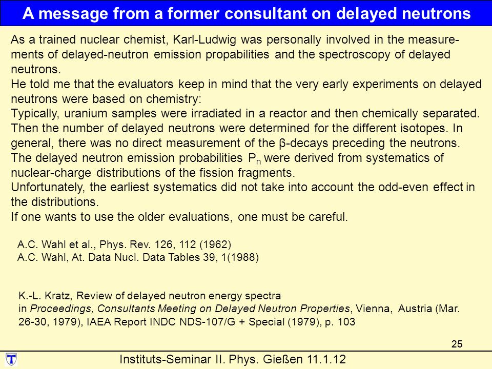 A message from a former consultant on delayed neutrons
