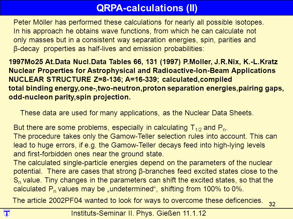QRPA-calculations (II)