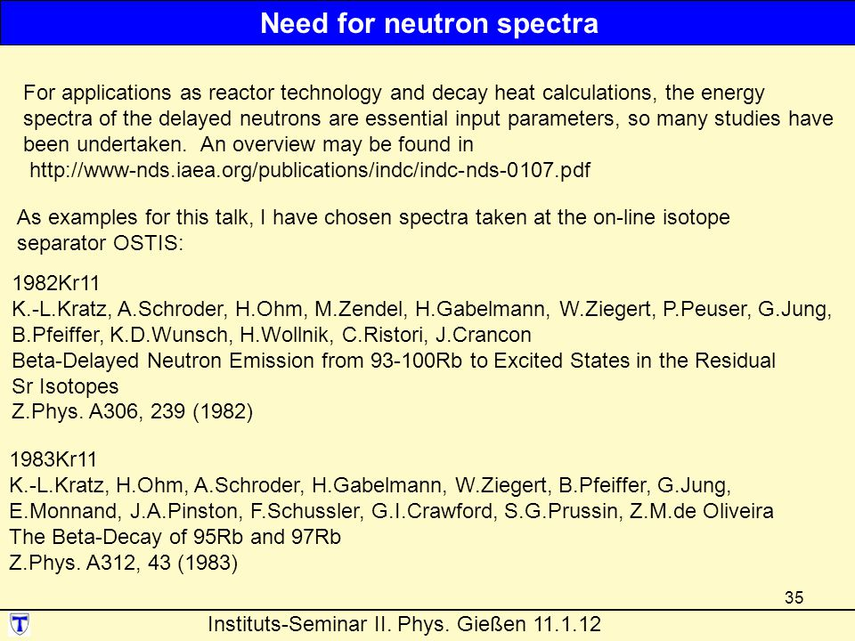 Need for neutron spectra