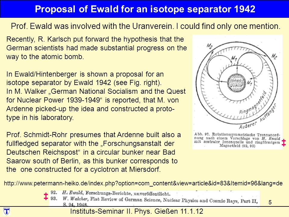 Proposal of Ewald for an isotope separator 1942