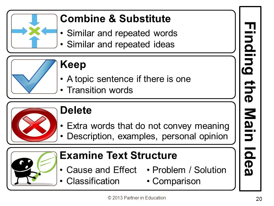 Finding the Main Idea Keep Delete Combine & Substitute