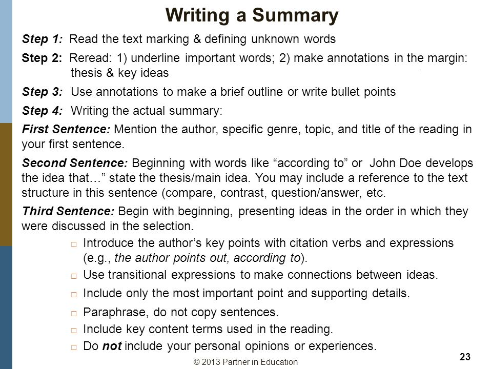 Writing a Summary Step 1: Read the text marking & defining unknown words.