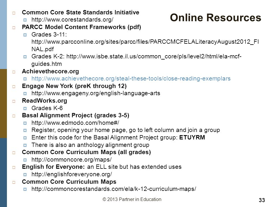 Online Resources Common Core State Standards Initiative