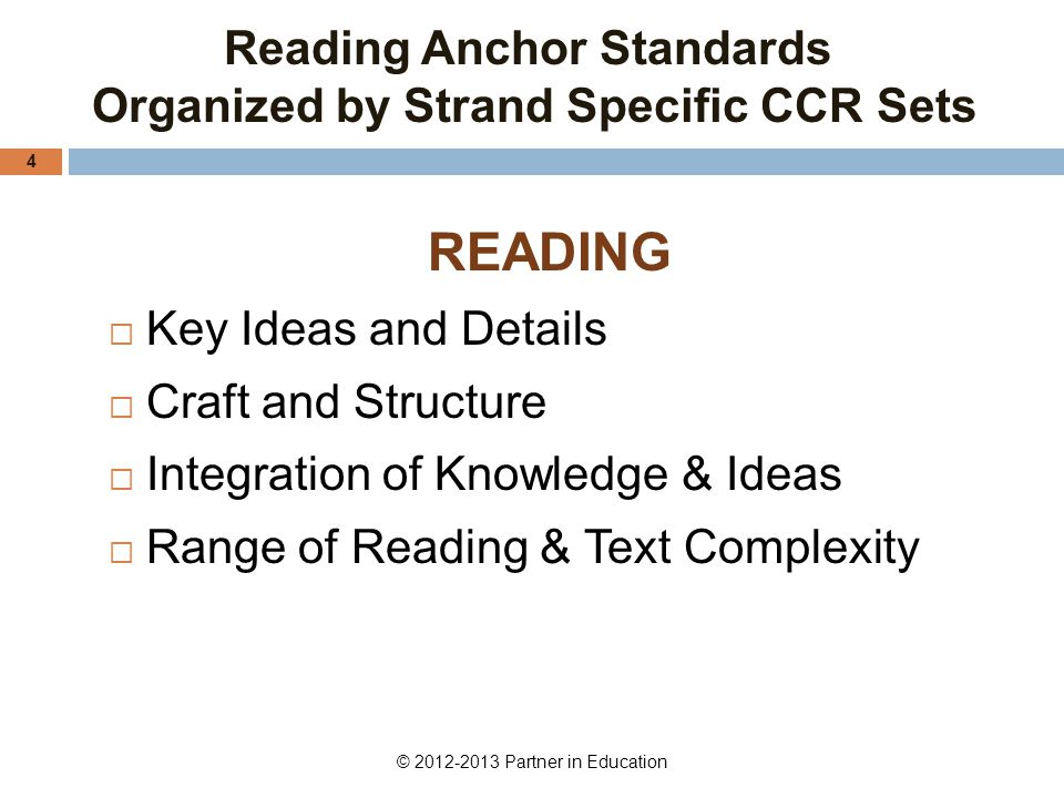 Reading Anchor Standards Organized by Strand Specific CCR Sets