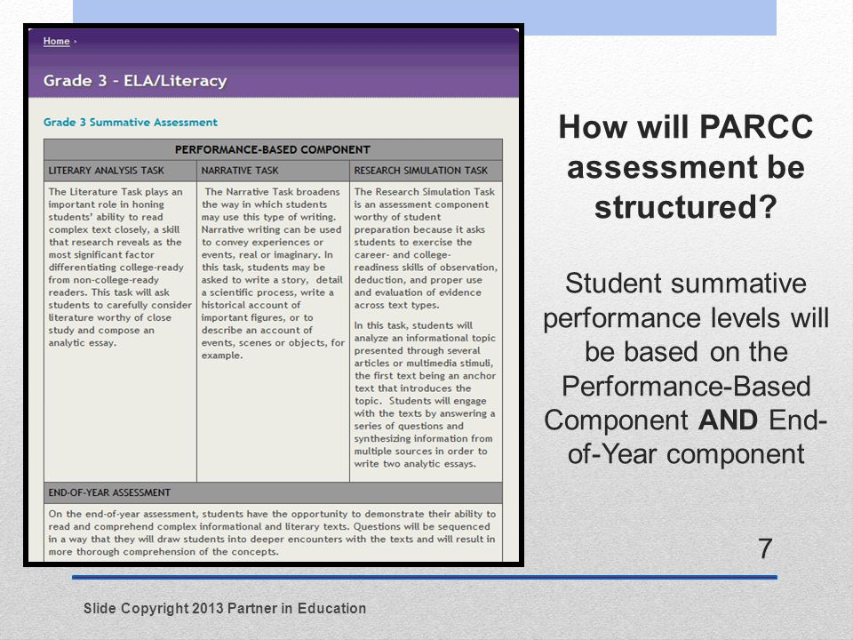 How will PARCC assessment be structured