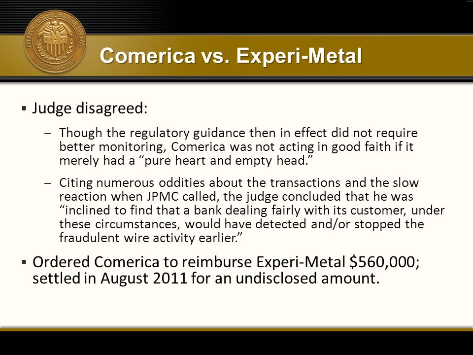 Comerica vs. Experi-Metal